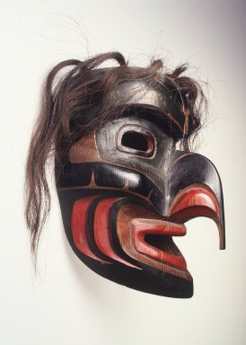 John H. Livingston. <em>Wild Man Mask</em>, 1970. Cedar wood, pigment, hair, 11 5/8 x 7 1/2 x 8 1/8 in. (29.5 x 19.1 x 20.6 cm). Brooklyn Museum, Gift of Fred Nihda, 1996.203. Creative Commons-BY (Photo: Brooklyn Museum, 1996.203_transp3546.jpg)