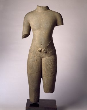 <em>Torso of a Male Divinity</em>, 1010-1080. Gray sandstone, 30 1/2 x 12 1/4 x 5 3/4 in. Brooklyn Museum, Gift of Georgia and Michael de Havenon, 1996.210.1. Creative Commons-BY (Photo: Brooklyn Museum, 1996.210.1_SL3.jpg)