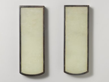 <em>Scroll Weight</em>. Jade (nephrite) with zitan wood mount, 5/8 x 2 3/8 x 6 7/8 in. (1.6 x 6 x 17.5cm). Brooklyn Museum, Gift of R. Hatfield Ellsworth, 1996.211.1. Creative Commons-BY (Photo: Brooklyn Museum, 1996.211.1_PS4.jpg)