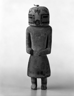 Hopi Pueblo. <em>Kachina Doll</em>, late 19th-early 20th century. Wood, pigment, 10 1/4 x 3 3/4 x 2 7/8in. (26 x 9.5 x 7.3cm). Brooklyn Museum, Anonymous gift, 1996.22.3. Creative Commons-BY (Photo: Brooklyn Museum, 1996.22.3_bw.jpg)