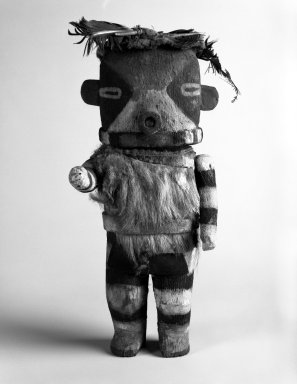 Possibly She-we-na (Zuni Pueblo). <em>Kachina Doll</em>, late 19th century. Wood, fur, feathers, pigment, 10 x 4 7/8 x 3 in. Brooklyn Museum, Anonymous gift, 1996.22.4. Creative Commons-BY (Photo: Brooklyn Museum, 1996.22.4_bw.jpg)