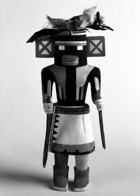 Hopi Pueblo. <em>Kachina Doll</em>, 20th century. Wood, paint, feathers, 8 3/4 x 3 5/8in. (22.2 x 9.2cm). Brooklyn Museum, Anonymous gift, 1996.22.5. Creative Commons-BY (Photo: Brooklyn Museum, 1996.22.5_bw.jpg)