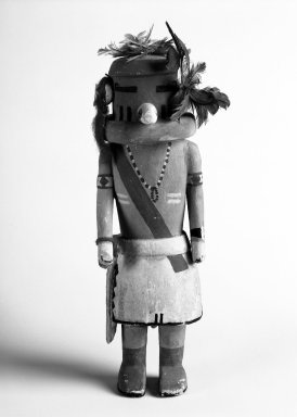 Hopi Pueblo. <em>Kachina Doll</em>, 20th century. Wood, pigment, feathers, hair, dye, 10 x 3 1/4 x 2 7/8in. (25.4 x 8.3 x 7.3cm). Brooklyn Museum, Anonymous gift, 1996.22.7. Creative Commons-BY (Photo: Brooklyn Museum, 1996.22.7_bw.jpg)