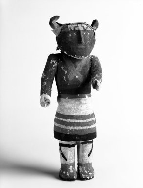 Pueblo (unidentified). <em>Kachina Doll</em>, early 20th century. Wood, pigment, hide, 9 3/4 x 3 3/4 x 3 in.  (24.8 x 9.5 x 7.6 cm). Brooklyn Museum, Anonymous gift, 1996.22.9. Creative Commons-BY (Photo: Brooklyn Museum, 1996.22.9_bw.jpg)