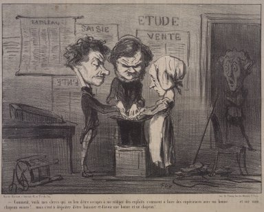 Honoré Daumier (French, 1808-1879). <em>Look at that, there are my scribes experimenting with my maid...(Comment, voilà mes clercs qui au lieu d'être occupés à me rédiger des exploits s'amusent à faire des expériences avec ma bonne.....)</em>, May 21, 1853. Lithograph on newsprint, Image: 7 11/16 x 10 1/2 in. (19.5 x 26.7 cm). Brooklyn Museum, Gift of Shelley and David Garfinkel, 1996.225.10 (Photo: Brooklyn Museum, 1996.225.10.jpg)