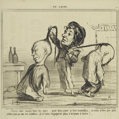 "Honoré Daumier (French, 1808-1879). <em>""Voyons donc, voyons donc les amis...,""</em> January 24, 1859. Lithograph on newsprint, Sheet: 17 1/16 x 11 5/8 in. (43.3 x 29.5 cm). Brooklyn Museum, Gift of Shelley and David Garfinkel, 1996.225.100 (Photo: Brooklyn Museum, 1996.225.100_PS2.jpg)"