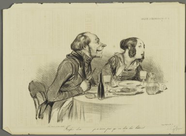 Honoré Daumier (French, 1808-1879). <em>Finissez donc... je n'aime pas qu'on dise des bêtises...</em>, December 23, 1838. Lithograph on newsprint, 10 x 13 13/16 in. (25.4 x 35.2 cm). Brooklyn Museum, Gift of Shelley and David Garfinkel, 1996.225.101 (Photo: Brooklyn Museum, 1996.225.101_PS2.jpg)