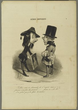 "Honoré Daumier (French, 1808-1879). <em>""Tailleur...prenez ça...,""</em> November 29, 1839. Lithograph on newsprint, 14 1/4 x 9 15/16 in. (36.2 x 25.2 cm). Brooklyn Museum, Gift of Shelley and David Garfinkel, 1996.225.103 (Photo: Brooklyn Museum, 1996.225.103_PS2.jpg)"