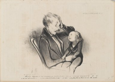 Honoré Daumier (French, 1808-1879). <em>Mossieu Guguste and Mam Wanted to Go to Bed and Were Sleepy and...(Mossieu Guguste et ma maman y voulaient faire dodo, y-z-avaient sommeil et...)</em>, July 1, 1838. Lithograph on newsprint, Sheet: 9 7/8 x 13 13/16 in. (25.1 x 35.1 cm). Brooklyn Museum, Gift of Shelley and David Garfinkel, 1996.225.104 (Photo: Brooklyn Museum, 1996.225.104_PS2.jpg)