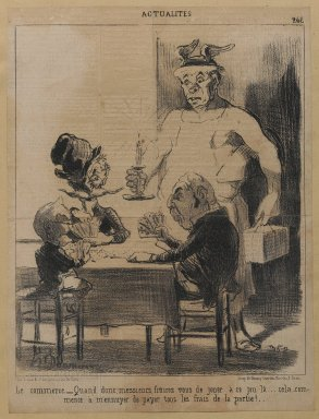 "Honoré Daumier (French, 1808-1879). <em>Le commerce. __""Quand donc...,""</em> December 2, 1851. Lithograph on newsprint mounted on thick paper, Sheet: 11 13/16 x 9 in. (30 x 22.9 cm). Brooklyn Museum, Gift of Shelley and David Garfinkel, 1996.225.105 (Photo: Brooklyn Museum, 1996.225.105_PS1.jpg)"