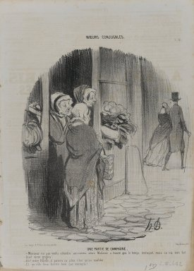 Honoré Daumier (French, 1808-1879). <em>Une Partie de Campagne</em>, October 2, 1842. Lithograph on newsprint, 13 3/4 x 9 5/8 in. (34.9 x 24.5 cm). Brooklyn Museum, Gift of Shelley and David Garfinkel, 1996.225.107 (Photo: Brooklyn Museum, 1996.225.107_PS1.jpg)