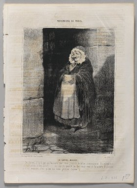 Honoré Daumier (French, 1808-1879). <em>La Garde - Malade</em>. Lithograph on newsprint, Sheet: 13 3/4 x 10 1/16 in. (35 x 25.6 cm). Brooklyn Museum, Gift of Shelley and David Garfinkel, 1996.225.108 (Photo: Brooklyn Museum, 1996.225.108_PS1.jpg)