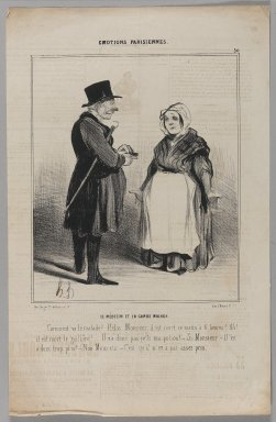 Honoré Daumier (French, 1808-1879). <em>Le Médecin et la Garde Malade</em>, July 6, 1840. Lithograph on newsprint, Sheet: 14 5/8 x 9 3/8 in. (37.1 x 23.8 cm). Brooklyn Museum, Gift of Shelley and David Garfinkel, 1996.225.110 (Photo: Brooklyn Museum, 1996.225.110_PS1.jpg)