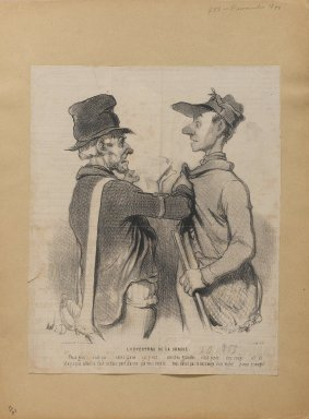Honoré Daumier (French, 1808-1879). <em>L'Overture de la Chasse</em>, November 7, 1844. Lithograph on newsprint, 11 1/8 x 9 in. (28.2 x 22.9 cm). Brooklyn Museum, Gift of Shelley and David Garfinkel, 1996.225.111 (Photo: Brooklyn Museum, 1996.225.111_PS1.jpg)