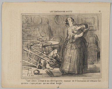 Honoré Daumier (French, 1808-1879). <em>Taken By Her Operetta Part, Madame de St. Chalumeau is Shouting So Loud That She Does Not Notice the Bellowing of Her Child (Toute entière à l'étude de son rôle d'opérette, madame de St. Chalumeau crie tellement fort qu'elle ne s'aperçoit pas que son</em>, May 8, 1858. Lithograph on newsprint, Sheet: 10 13/16 x 13 7/16 in. (27.5 x 34.1 cm). Brooklyn Museum, Gift of Shelley and David Garfinkel, 1996.225.113 (Photo: Brooklyn Museum, 1996.225.113_PS2.jpg)
