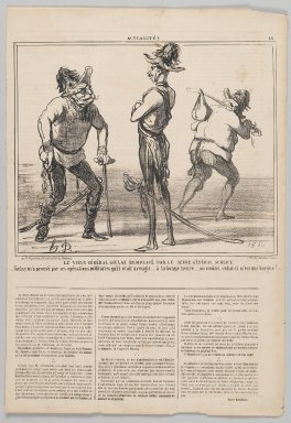 Honoré Daumier (French, 1808-1879). <em>Le Vieux Général Giulay Remplacé par le Jeune Général Schlick</em>, 1859. Lithograph on newsprint, Sheet: 17 x 11 5/8 in. (43.2 x 29.6 cm). Brooklyn Museum, Gift of Shelley and David Garfinkel, 1996.225.115 (Photo: Brooklyn Museum, 1996.225.115_PS2.jpg)