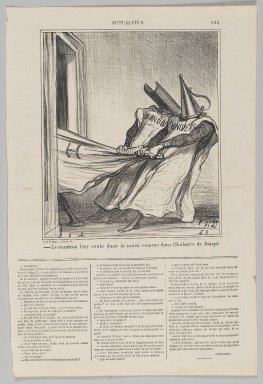 Honoré Daumier (French, 1808-1879). <em>Le Manteau Leur Reste dans la Main...</em>, October 14, 1869. Lithograph on newsprint, Sheet: 16 7/8 x 11 1/4 in. (42.9 x 28.6 cm). Brooklyn Museum, Gift of Shelley and David Garfinkel, 1996.225.116 (Photo: Brooklyn Museum, 1996.225.116_PS2.jpg)