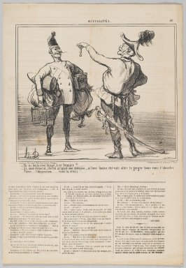 "Honoré Daumier (French, 1808-1879). <em>""Tu ne lui as rien laissé, à ce fermier?...,""</em> June 25, 1859. Lithograph on newsprint, Sheet: 17 x 11 3/4 in. (43.2 x 29.9 cm). Brooklyn Museum, Gift of Shelley and David Garfinkel, 1996.225.117 (Photo: Brooklyn Museum, 1996.225.117_PS2.jpg)"
