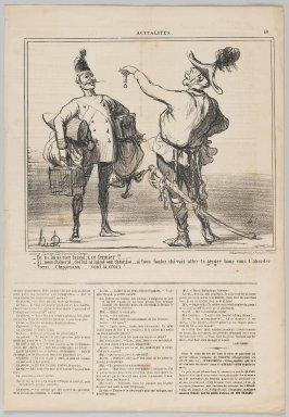 "Honoré Daumier (French, 1808-1879). <em>""Tu ne lui as rien laissé, à ce fermier?...,""</em> June 25, 1859. Lithograph on newsprint, Sheet: 17 x 11 3/4 in. (43.2 x 29.9 cm). Brooklyn Museum, Gift of Shelley and David Garfinkel, 1996.225.117 (Photo: Brooklyn Museum, 1996.225.117_PS2.jpg)"