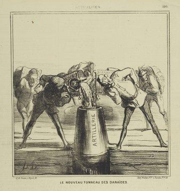 Honoré Daumier (French, 1808-1879). <em>Le Nouveau Tonneau des Danaïdes</em>, July 3, 1869. Lithograph on newsprint, Sheet: 16 15/16 x 11 1/4 in. (43 x 28.6 cm). Brooklyn Museum, Gift of Shelley and David Garfinkel, 1996.225.119 (Photo: Brooklyn Museum, 1996.225.119_PS2.jpg)