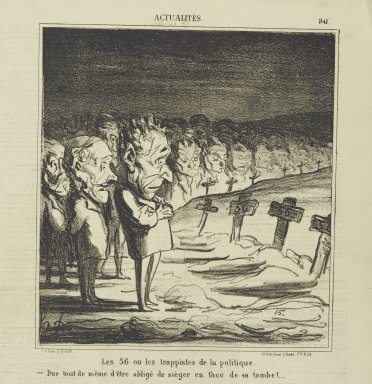 Honoré Daumier (French, 1808-1879). <em>Les 56 ou les Trappistes de la Politique...</em>, April 8, 1870. Lithograph on newsprint, Sheet: 16 7/8 x 11 7/8 in. (42.9 x 30.2 cm). Brooklyn Museum, Gift of Shelley and David Garfinkel, 1996.225.123 (Photo: Brooklyn Museum, 1996.225.123_PS2.jpg)