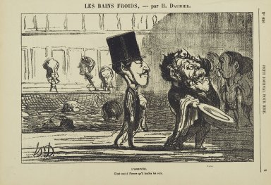 Honoré Daumier (French, 1808-1879). <em>L'Arrivée</em>, May 1874. Gillotage on newsprint, Sheet: 8 1/16 x 11 5/16 in. (20.5 x 28.7 cm). Brooklyn Museum, Gift of Shelley and David Garfinkel, 1996.225.124 (Photo: Brooklyn Museum, 1996.225.124_PS2.jpg)