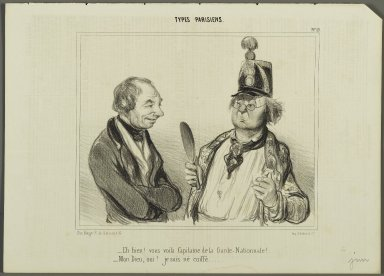 "Honoré Daumier (French, 1808-1879). <em>""Eh bien!  vous voilà Capitaine de la Garde-Nationale!...,""</em> June 9, 1841. Lithograph on newsprint, Sheet: 9 13/16 x 13 3/4 in. (25 x 35 cm). Brooklyn Museum, Gift of Shelley and David Garfinkel, 1996.225.126 (Photo: Brooklyn Museum, 1996.225.126_PS2.jpg)"
