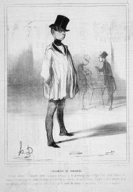 Honoré Daumier (French, 1808-1879). <em>The Lighter (L'Allumeur de Chalands)</em>, December 9, 1841. Lithograph on newsprint, Sheet: 14 x 9 5/8 in. (35.5 x 24.5 cm). Brooklyn Museum, Gift of Shelley and David Garfinkel, 1996.225.13 (Photo: Brooklyn Museum, 1996.225.13.jpg)