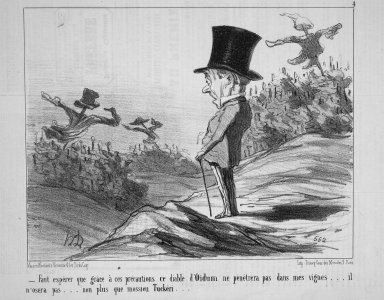 Honoré Daumier (French, 1808-1879). <em>We'll Just Hope That Thanks to These Precautions This Devil of a Mildew Won't Penetrate My Vines...(Faut espérer que grâce à ces précautions, ce diable d'Oïdum ne pénétra pas dans mes vignes...)</em>, October 22, 1853. Lithograph on newsprint, laid down on wove paper, Sheet: 9 13/16 x 14 in. (24.9 x 35.6 cm). Brooklyn Museum, Gift of Shelley and David Garfinkel, 1996.225.15 (Photo: Brooklyn Museum, 1996.225.15.jpg)