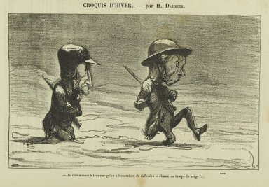 Honoré Daumier (French, 1808-1879). <em>Je Commence à Trouver Qu'on a Bien Raison de Défendre la Chasse en Temps de Neige!...</em>. Gillotage, 11 3/4 x 9 3/8 in. (29.8 x 21.3 cm). Brooklyn Museum, Gift of Shelley and David Garfinkel, 1996.225.154 (Photo: Brooklyn Museum, 1996.225.154_PS2.jpg)