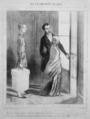 Honoré Daumier (French, 1808-1879). <em>Monsieur Mimi Coquet, Milliner and Philanthropist...(Monsieur Mimi Coquet, modiste et philantrope...)</em>, March 28, 1845. Lithograph on newsprint, Sheet: 13 7/8 x 10 in. (35.2 x 25.4 cm). Brooklyn Museum, Gift of Shelley and David Garfinkel, 1996.225.21 (Photo: Brooklyn Museum, 1996.225.21.jpg)