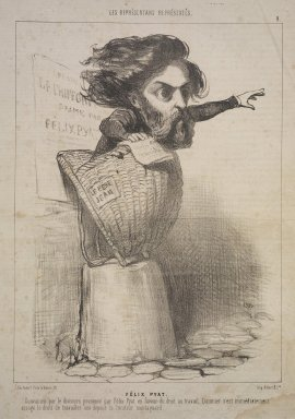 Honoré Daumier (French, 1808-1879). <em>Félix Pyat</em>, January 10, 1849. Lithograph on newsprint, Sheet: 13 7/8 x 9 1/2 in. (35.2 x 24.2 cm). Brooklyn Museum, Gift of Shelley and David Garfinkel, 1996.225.22 (Photo: Brooklyn Museum, 1996.225.22.jpg)