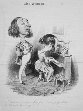 Honoré Daumier (French, 1808-1879). <em>Monsieur Has Been Singing Out of Tune for the Last Six Months...(Depuis six mois monsieur chante faux!...)</em>, July 24, 1839. Lithograph on newsprint, 11 3/16 x 8 7/16 in. (28.4 x 21.4 cm). Brooklyn Museum, Gift of Shelley and David Garfinkel, 1996.225.23 (Photo: Brooklyn Museum, 1996.225.23.jpg)