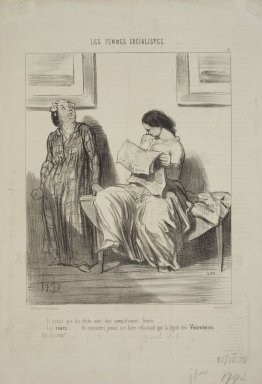 Honoré Daumier (French, 1808-1879). <em>It seems they are closing down our clubs!  (Il parait que les clubs vont être complètement fermés..... )</em>, April 25, 1849. Lithograph on newsprint, Sheet: 14 7/16 x 9 3/4 in. (36.7 x 24.8 cm). Brooklyn Museum, Gift of Shelley and David Garfinkel, 1996.225.25 (Photo: Brooklyn Museum, 1996.225.25.jpg)