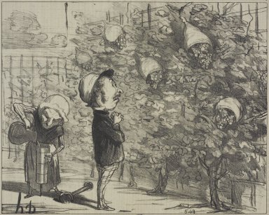 Honoré Daumier (French, 1808-1879). <em>My Poor Grapes...(Mes pauvres raisins...)</em>, October 13, 1853. Lithograph on newsprint, Sheet: 9 13/16 x 14 1/16 in. (24.9 x 35.7 cm). Brooklyn Museum, Gift of Shelley and David Garfinkel, 1996.225.26 (Photo: Brooklyn Museum, 1996.225.26.jpg)
