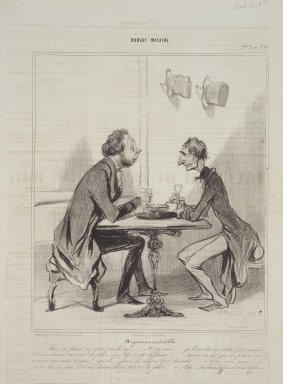 Honoré Daumier (French, 1808-1879). <em>Argument Irrésistible</em>, May 16, 1841. Lithograph on newsprint, Sheet: 14 3/16 x 9 3/4 in. (36 x 24.8 cm). Brooklyn Museum, Gift of Shelley and David Garfinkel, 1996.225.28 (Photo: Brooklyn Museum, 1996.225.28.jpg)