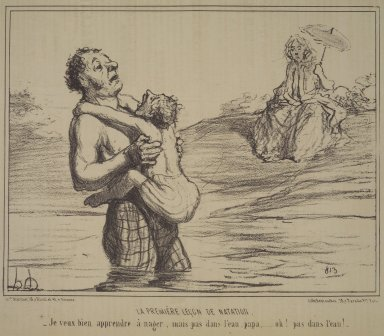 Honoré Daumier (French, 1808-1879). <em>The First Swimming Lesson (La Première leçon de natation)</em>, August 23, 1855. Lithograph on newsprint, Sheet: 9 1/2 x 14 1/4 in. (24.1 x 36.2 cm). Brooklyn Museum, Gift of Shelley and David Garfinkel, 1996.225.3 (Photo: Brooklyn Museum, 1996.225.3.jpg)