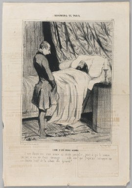 Honoré Daumier (French, 1808-1879). <em>L'Ami d'un Grand Homme</em>, March 20, 1842. Lithograph on newsprint, Sheet: 14 3/8 x 9 13/16 in. (36.5 x 25 cm). Brooklyn Museum, Gift of Shelley and David Garfinkel, 1996.225.30 (Photo: Brooklyn Museum, 1996.225.30_PS1.jpg)