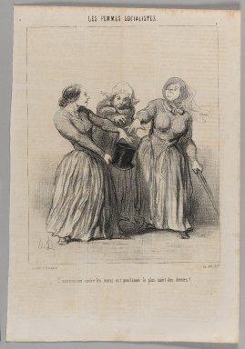 Honoré Daumier (French, 1808-1879). <em>L'insurrection Contre les Maris Est Proclamée le Plus Saint des Devoir!</em>, April 20, 1849. Lithograph on newsprint, Sheet: 14 3/16 x 9 3/4 in. (36 x 24.8 cm). Brooklyn Museum, Gift of Shelley and David Garfinkel, 1996.225.31 (Photo: Brooklyn Museum, 1996.225.31_PS1.jpg)