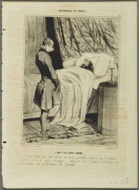 Honoré Daumier (French, 1808-1879). <em>L'Ami d'un Grand Homme</em>, March 20, 1842. Lithograph on newsprint, Sheet: 13 13/16 x 10 1/16 in. (35.1 x 25.6 cm). Brooklyn Museum, Gift of Shelley and David Garfinkel, 1996.225.33 (Photo: Brooklyn Museum, 1996.225.33_PS2.jpg)