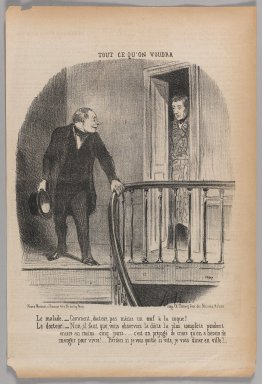 Honoré Daumier (French, 1808-1879). <em>Le Malade-- Comment, Docteur, Pas Même un Oeuf à la Coque!...</em>, June 19, 1852. Lithograph on newsprint, 14 3/8 x 9 11/16 in. (36.5 x 24.6 cm). Brooklyn Museum, Gift of Shelley and David Garfinkel, 1996.225.34 (Photo: Brooklyn Museum, 1996.225.34_PS1.jpg)