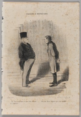 "Honoré Daumier (French, 1808-1879). <em>""Eh! Bien monsieur et mes trois termes...,""</em> June 4, 1848. Lithograph on newsprint, 14 1/8 x 9 3/4 in. (35.9 x 24.8 cm). Brooklyn Museum, Gift of Shelley and David Garfinkel, 1996.225.38 (Photo: Brooklyn Museum, 1996.225.38_PS1.jpg)"