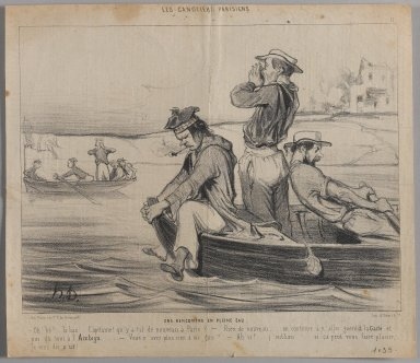 Honoré Daumier (French, 1808-1879). <em>Une Rencontre en Pleine Eau</em>, June 22, 1843. Lithograph on newsprint, Sheet: 9 7/8 x 11 3/8 in. (25.1 x 28.9 cm). Brooklyn Museum, Gift of Shelley and David Garfinkel, 1996.225.40 (Photo: Brooklyn Museum, 1996.225.40_PS1.jpg)