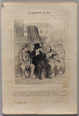 "Honoré Daumier (French, 1808-1879). <em>""Ainsi donc, mon ami, à vingt deux ans vous aviez déjà tué trois hommes...,""</em> October 19, 1844. Lithograph on newsprint, Sheet: 14 7/8 x 10 1/16 in. (37.8 x 25.5 cm). Brooklyn Museum, Gift of Shelley and David Garfinkel, 1996.225.42 (Photo: Brooklyn Museum, 1996.225.42_PS1.jpg)"