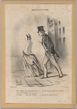"Honoré Daumier (French, 1808-1879). <em>""Non, madame, je ne quitterai pas...,""</em> April 26, 1848. Lithograph on newsprint, 13 7/16 x 8 7/8 in. (34.2 x 22.6 cm). Brooklyn Museum, Gift of Shelley and David Garfinkel, 1996.225.43 (Photo: Brooklyn Museum, 1996.225.43_PS1.jpg)"