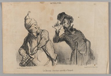 Honoré Daumier (French, 1808-1879). <em>Le Docteur Cherchant Querelle à Ratapoil</em>, May 31, 1851. Lithograph on newsprint, Image: 9 7/16 x 14 in. (23.9 x 35.5 cm). Brooklyn Museum, Gift of Shelley and David Garfinkel, 1996.225.44 (Photo: Brooklyn Museum, 1996.225.44_PS1.jpg)