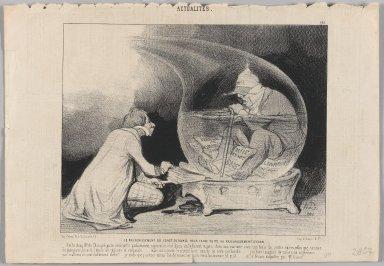Honoré Daumier (French, 1808-1879). <em>Le Rajeunissement du Constitutionel pour Faire Suite au Rajeunissement d'Eson</em>, April 12, 1844. Lithograph on newsprint, Sheet: 9 13/16 x 14 3/16 in. (25 x 36.1 cm). Brooklyn Museum, Gift of Shelley and David Garfinkel, 1996.225.45 (Photo: Brooklyn Museum, 1996.225.45_PS1.jpg)