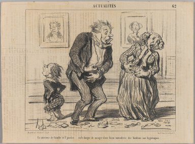Honoré Daumier (French, 1808-1879). <em>Un Intérieur de Famille le 2 Janvier...</em>, January 7, 1853. Lithograph on newsprint, Sheet: 9 15/16 x 13 3/8 in. (25.2 x 34 cm). Brooklyn Museum, Gift of Shelley and David Garfinkel, 1996.225.46 (Photo: Brooklyn Museum, 1996.225.46_PS1.jpg)