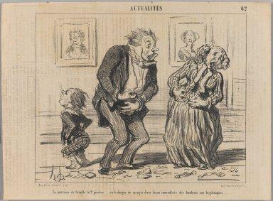 Honoré Daumier (French, 1808-1879). <em>Un Intérieur de Famille le 2 Janvier...</em>, January 7, 1853. Lithograph on newsprint, Sheet: 9 15/16 x 13 3/8 in. (25.2 x 34 cm). Brooklyn Museum, Gift of Shelley and David Garfinkel, 1996.225.46 (Photo: Brooklyn Museum, 1996.225.46_PS1.jpg)