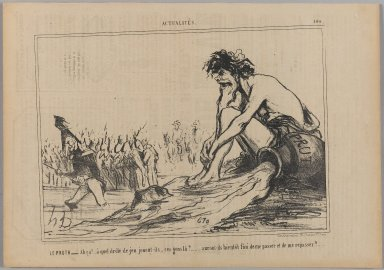 "Honoré Daumier (French, 1808-1879). <em>Le Pruth.__ ""Ah ça!... à quel drôle de jeu...,""</em> August 29, 1854. Lithograph on newsprint, Sheet: 9 13/16 x 14 1/16 in. (24.9 x 35.7 cm). Brooklyn Museum, Gift of Shelley and David Garfinkel, 1996.225.47 (Photo: Brooklyn Museum, 1996.225.47_PS1.jpg)"